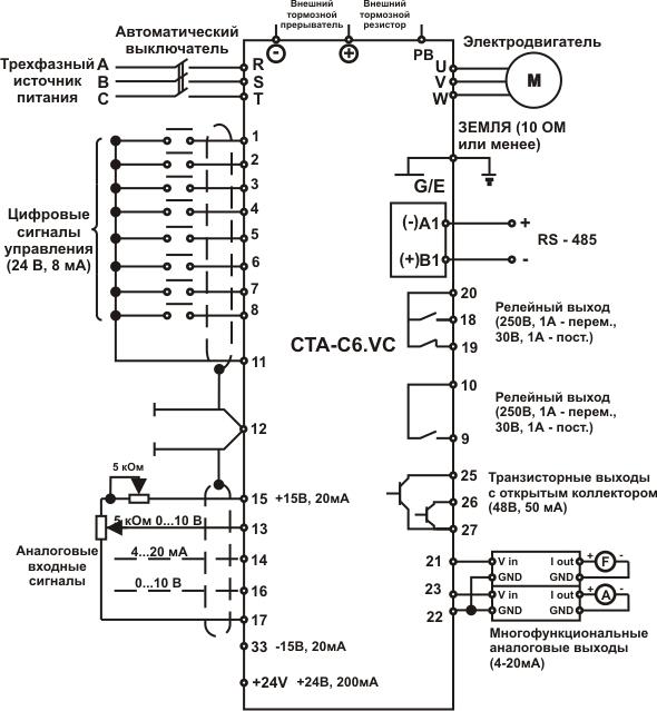Схема подключения частотных преобразователей CTA-C6.VC (380 B, 660-690 В)