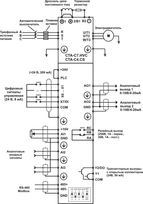 Схема подключения частотных преобразователей CTA-C7.HVC